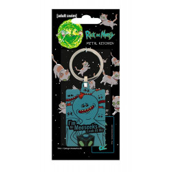 MR MEESEEKS RICK AND MORTY METAL KEYRING