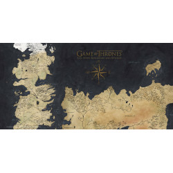 GAME OF THRONES POSTER EN VERRE WESTEROS MAP 50 X 25 CM