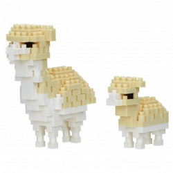 ALPACA AND BABY NANOBLOCK BUILDING BLOCK SET
