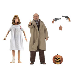 HALLOWEEN 2 LE MASQUE PACK 2 FIGURINES RETRO DOCTOR LOOMIS LAURIE STRODE 20 CM