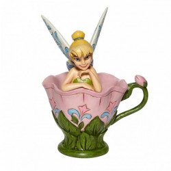 TINKER BELL SITTING IN A FLOWER FIGURINE BY DISNEY TRADITIONS 10 CM