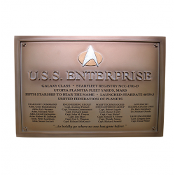 U.S.S ENTERPRISE NCC 1701 D STAR TREK DEDICATION PLAQUE NUMERO 4