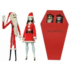 SANTA JACK AND SANTA SALLY THE NIGHTMARE BEFORE CHRISTMAS COFFIN DOLL 2 PACK