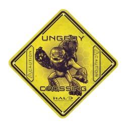 UNGGOY CROSSING HALO CAUTION TIN SIGN