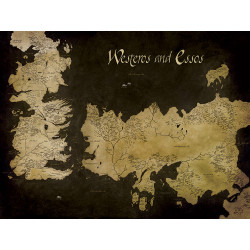 WESTEROS AND ESSOS MAP GAME OF THRONES 60X80 CANVAS PRINT