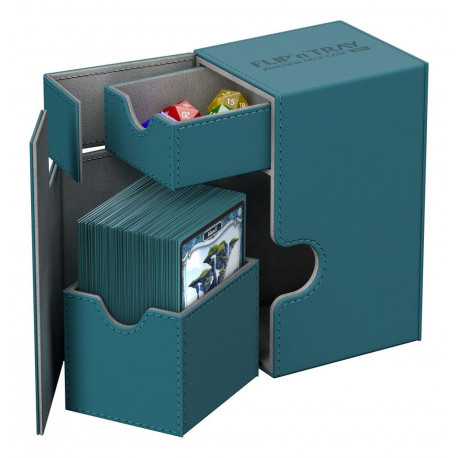 FLIP'N'TRAY DECK CASE XENOSKIN BLUE PETROL TAILLE STANDARD 80 DOUBLE SLEEVED CARDS