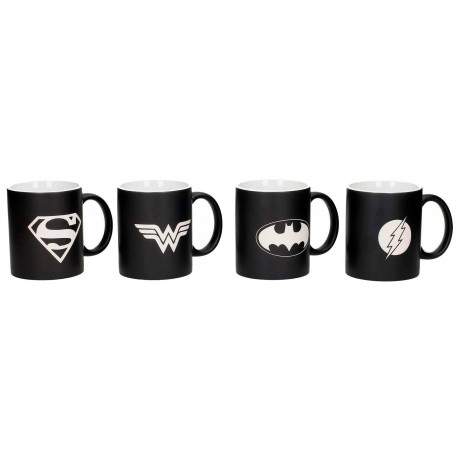 JUSTICE LEAGUE LOGO DC COMICS SET OF 4 MUGS
