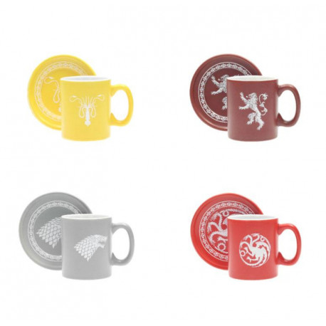 GAME OF THRONES HOUSES SET OF 4 MUGS WITH SAUCERS